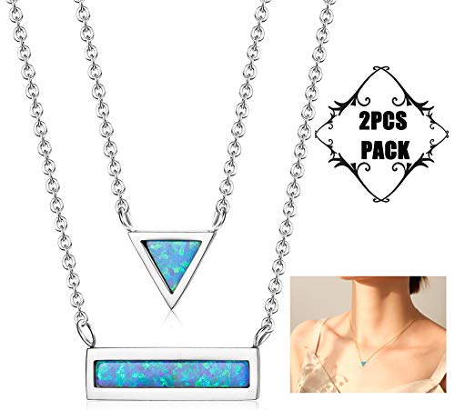 Finrezio 2pcs Opal Triangle Bar Necklaces for Women Girls Gold Rose Gold Plated Blue Geometric Necklace Set (Silver Tone)