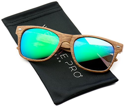 Faux Wood Reflective Revo Color Lens Horn Rimmed Sunglasses (Light Wood Print / Mirror Green, - Wood Sunglasses