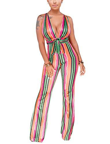 Women's Sleeveless Wide Leg Jumpsuits - Head Turner, Sexy Multi Wear Striped Bandaged Long Pants X-Large Green