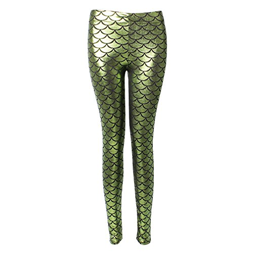 Hibote Stretch Fish Chiaro 2003 Leggings Soft verde Sexy Ml Scale Mermaid Hologram Shine Donna rxqrXES