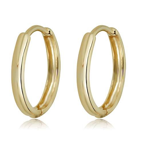10K Yellow Gold Polished Huggie Hoop Earrings ()