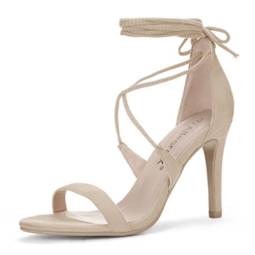 Lace Lace Up Wrap (Allegra K Women's Open Toe Stiletto High Heel Lace-up Sandals (Size US 8) Beige)