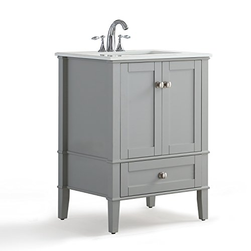 Simpli Home HHV029GR-24 Chelsea 24 inch Contemporary Bath Vanity in Warm Grey with White Engineered Quartz Marble Top ()