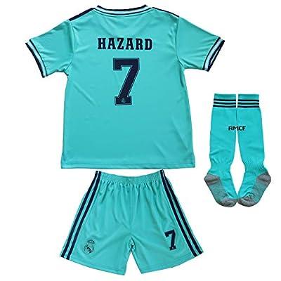 SecenMerch 2019/2020 New Hazard No #7 Real Madrid Third Green Blue Kids Soccer Jersey Kit Shorts Socks Set Youth Sizes