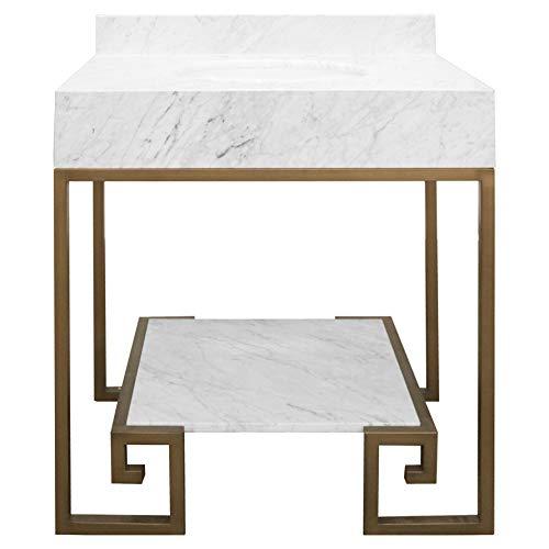 Kathy Kuo Home Corus Regency Greek Key White Marble Vanity Sink - Bronze