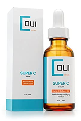 Super Vitamin C Serum - Best Collagen Anti Aging Skin Care for Face and Eyes - EGF + Marine Kelp + Hyaluronic Acid