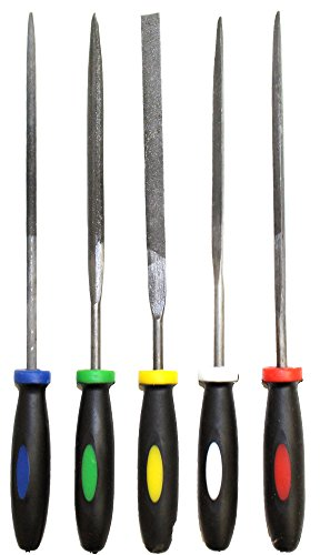 5 Piece Set of Needle Files with Color Coded Handles, 5.5 inches long
