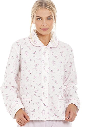 Camille Classic Pink Rose Print Quilted Bed Jacket 18/20
