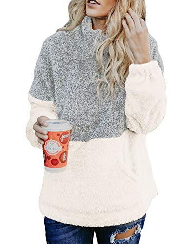 (MEROKEETY Women's Long Sleeve Contrast Color Zipper Sherpa Pile Pullover Tops Fleece with Pocket Light Grey)