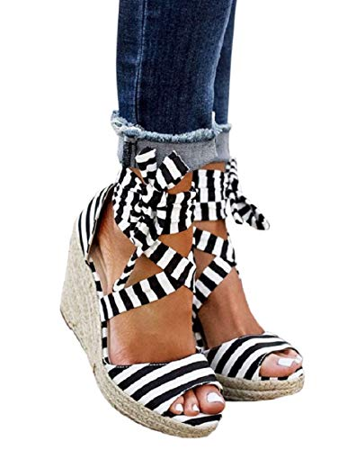 Liyuandian Womens Wedge Espadrilles Strap Sandals Ankle Lace up Peep Toe Cute Shoes Size