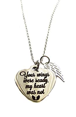 """Your Wings Were Ready, My Heart Was Not"" Heart Charm, Angel Wing Sterling Silver Necklace 18"""