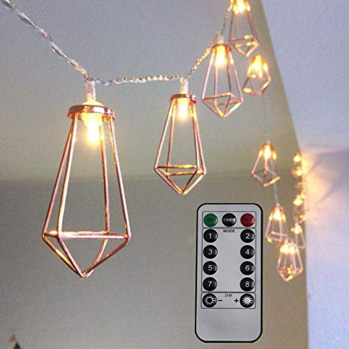 Dreamworth Remote Metal Cage String Lights 10Ft 20 LED Fairy Lights Battery Powered Diamond Geometric Boho LED Lights with Remote Controller for Wedding Party Indoor Outdoor