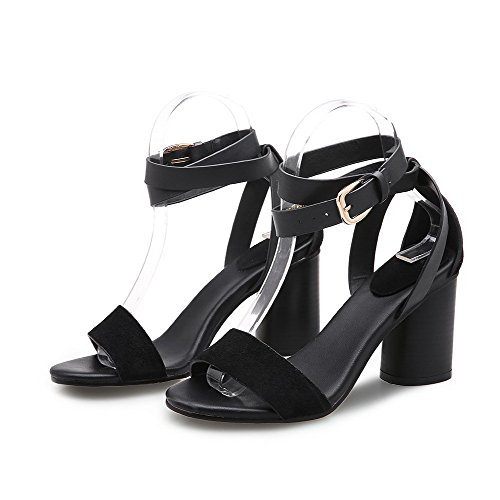 Frosted Toe Heels AllhqFashion Open Solid Women's High Sandals Black Buckle ptwwZxYqv1