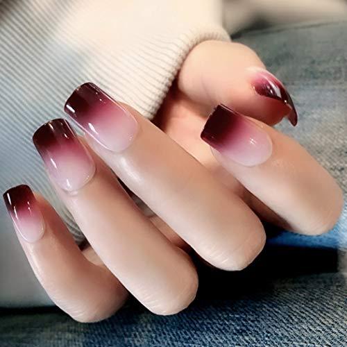 Broadway Impress Nails Halloween (Sethexy Glossy False Nails chic Gradient Medium Full Cover Acrylic 24Pcs Fake nails for Women and)
