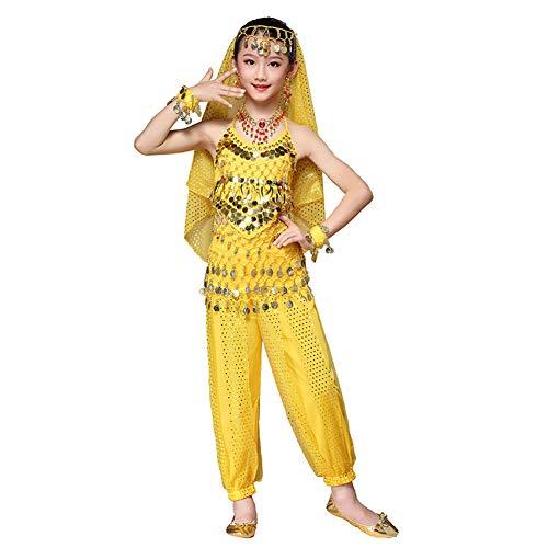 Maylong Girls Harem Pants Belly Dance Outfit School Halloween Costume DW63 (Medium, Yellow) -