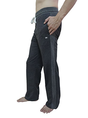 YogaAddict Men Yoga Long Pants, Pilates, Fitness, Workout, Casual, Lounge, Sleep, Martial Arts Pants (Sale Price), Dark Grey - Size (Martial Arts Workout Pant)