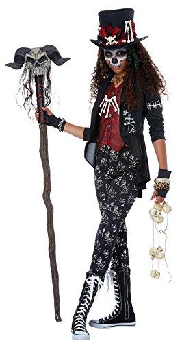 California Costumes Witch Doctor, Magic, Spells, Hex Voodoo Charm Girls Costume, Black/Red, Medium