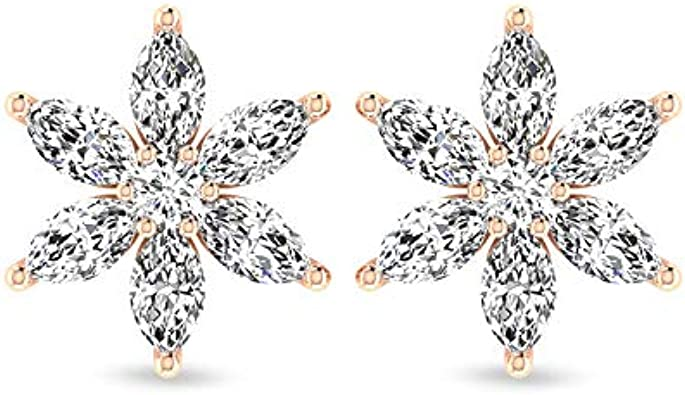 Pendientes de flor de diamante certificado SGL de 0,66 quilates, pequeños marquise redondos HI-SI de diamantes florales, pendientes mínimos de boda de novia, regalos, tornillo hacia atrás