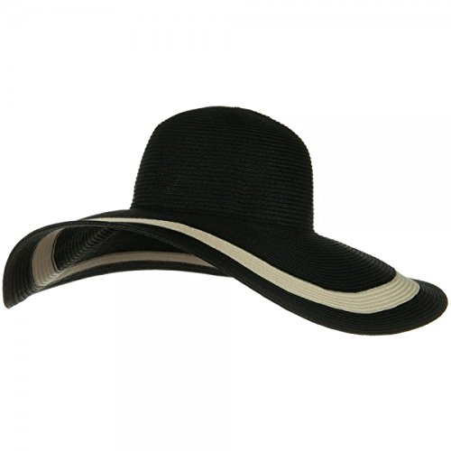 MG Solid Peak Ladies Large Wide Brim Toyo Sun Hat (Black)