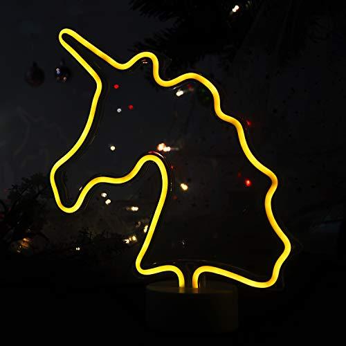 Decorative LED Unicorn Neon Lights Heart Neon Light Unicorn Neon Sign Led Neon Moon Neon Light (Warm White)
