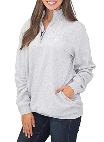 (Women's Long Sleeve 1/4 Quarter Zip Stand Collar Fleece Pullover Sweatshirts Tops Blouse Oversized Pocket Outwear Solid Gray M 8 10)