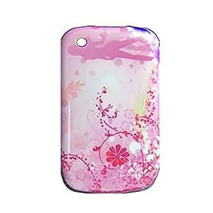 Rosa del diseño floral cubierta de plástico para Blackberry 8520