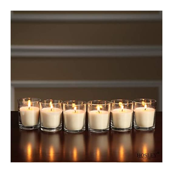 Hosley Set of 24 Unscented Clear Glass Wax Filled Votive Candles Up to 12 Hour Burn Time Glass Votive and Hand Poured Candle Included Ideal for Aromatherapy or Weddings and Party Favors O1 - PRODUCT: Hosley's Unscented Glass Votive Candles, set of 24 USE: These are perfect for adding a decorative touch to any room's decor. Perfect for everyday use, wedding, events, aromatherapy,Spa, Reiki, Meditation, Bathroom setting. BENEFITS: Hosley candles are hand poured wax. Looking for decorative accent. - living-room-decor, living-room, candles - 41D2sO785hL. SS570  -