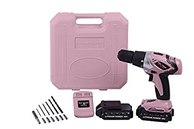 Pink Power PP182LI 18V Cordless Lithium Ion Drill Kit for Women with 2 Batteries, Case, Charger & Bit Set