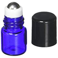 True Essence 1 ml, (1/4 Dram) Cobalt Blue Glass Micro Mini Roll-on Glass Bottles with Metal Roller Balls - Refillable Aromatherapy Essential Oil Roll On (12)
