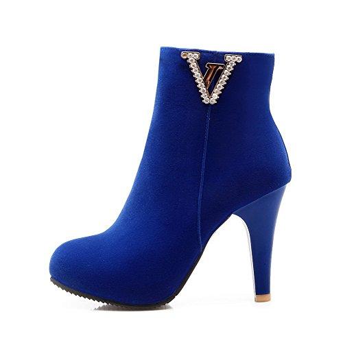 AllhqFashion Damen Nubukleder Hoher Absatz Reißverschluss Stiefel, Schwarz-Wasser Diamanten, 42