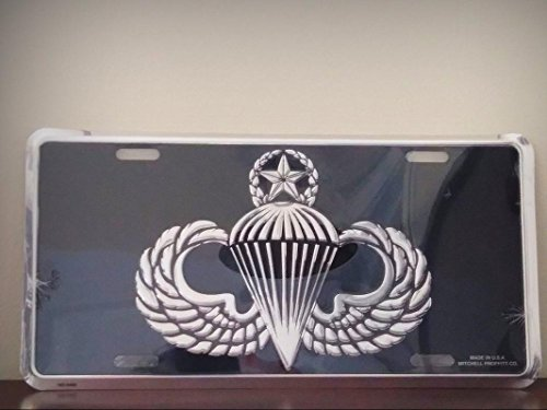 Wings Metal License Plate - United States Army Master Jump Wings in Silver On Black Embossed License Platefor Home/Man Cave Decor by PrettyMerchant