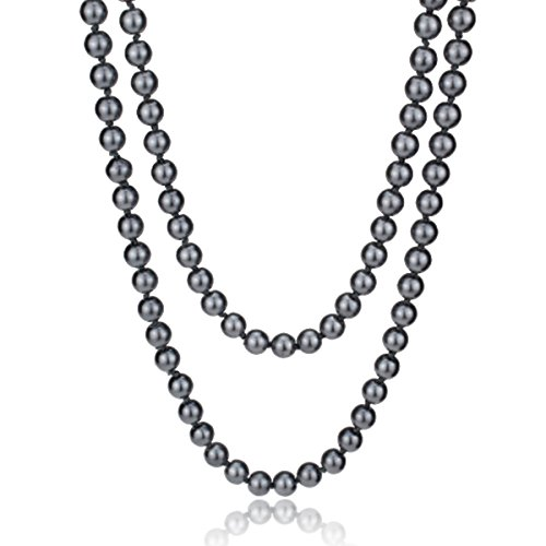Necklace Gray Pearl - MeliMe Women's White Gray Simulated Pearl (8mm) Strands Necklaces Long Sweater Chain Pearl Bead Necklaces Wedding Party Jewelry, 61 Inches (Gray)