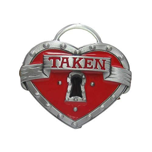 Belt Buckle Western Red Heart Taken Lock Belt Buckle for Mens Womens ()