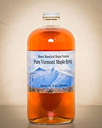 Mansfield Maple- Quart Glass Bottle (32oz) Pure Vermont Maple Syrup Grade A Golden Delicate (Vermont Grade Fancy)
