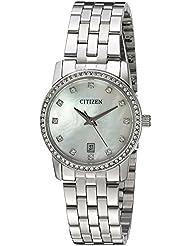 Citizen Womens Quartz Crystal Accent Watch with Date, EU6030-56D