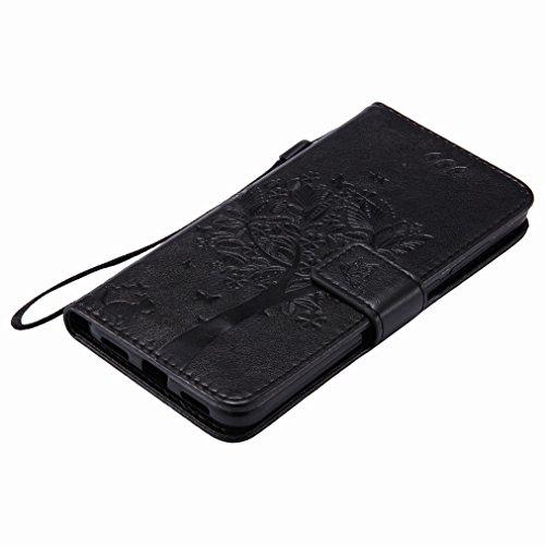 Yiizy Huawei P8 Lite (2017) (Honor 8 Lite, Nova Lite) Case, árbol De Dibujo Diseño Solapa Flip Billetera Carcasa Tapa Estuches Premium PU Cuero Cover Cáscara Bumper Protector Slim Piel Shell Case Stan
