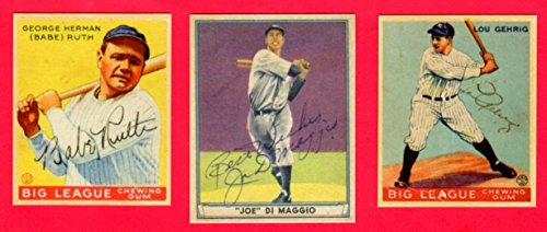 Babe Ruth, Lou Gehrig, Joe DiMaggio Baseball Reprint (3) Card Lot (w/ Facsimile Signature on front of card) Original Back and Size (Yankees) ()
