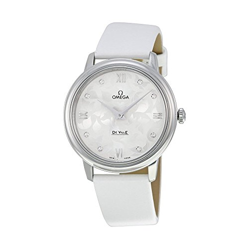 Omega De Ville White Diamond Dial White Satin Ladies Watch 42412336052001