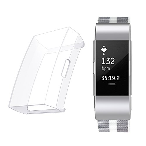 Minfex for Fitbit Charge 2 Screen Protector Case Cover, Soft TPU Protective Casing Scratch Proof Transparent Frame Shell Accessories for Fitbit Charge 2 Fitness Watch Transparent