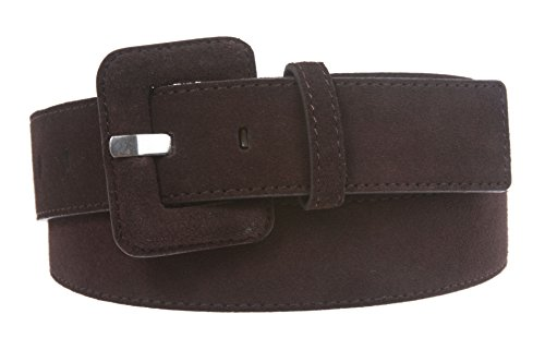 1 1/2 Inch Stitching-Edged Suede Leather Belt Size: M/L - 36 Color: Brown (Edged Leather)