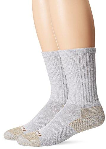Carhartt Men's 2-Pack All-Season Steel-Toe Cotton Crew Work Sock, Grey, Shoe Size: 6-12