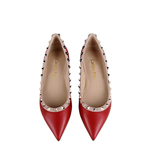 Matte Slingback Vestido Studs Puntiagudos T Hebilla Zapatos Strappy Flat Red Chris Mujeres Pisos Bombas OUH6q8