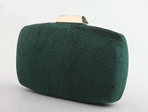 Purse Clutch Solid Color Formal Handbag Emerald Missfiona Womens Velvet Evening Hardbox Embossed RYavwqx