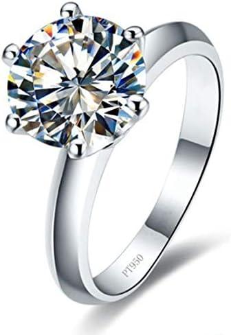 女性スターリングシルバーホワイトゴールドカバー用高級スタイル1ctラウンドダイヤモンド婚約指輪は消えません (12)