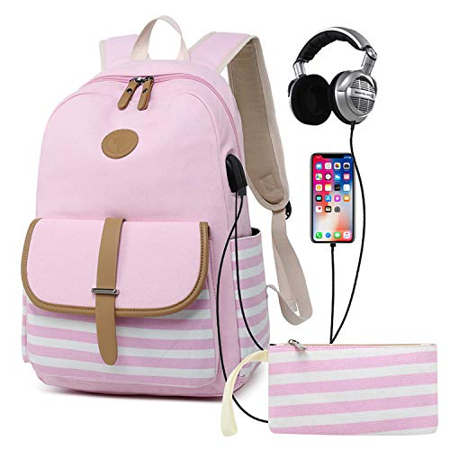 Abshoo Causal Travel Canvas Laptop Backpacks for Girls Womens School Bookbags With USB Charging Port (USB Light Pink)