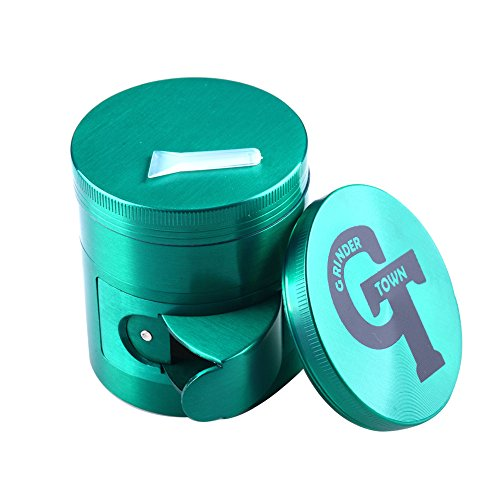 Tobacco Spice Herb Grinde with crank handle 4PCS - Grinder Town (green-side - Open Mills