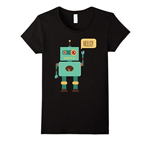 Womens HELLO! Robot Cute Funny Nice T-Shirt Medium Black