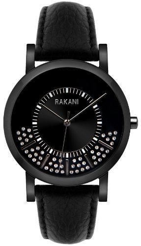 Rakani Stuck In Traffic 40mm Swarovski Crystals Watch with Black Steel Case and Leather Band