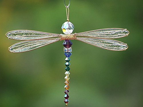 Dragonfly Small Suncatcher Golden-Winged Mobile with Chakra Theme Swarovsky Body