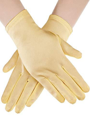 Sumind Short Satin Gloves Wrist Length Gloves Women's Gown Gloves Opera Wedding Banquet Dress Glove for Party Dance (Gold, M Size)]()